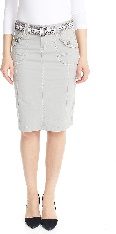 ESTEEZ Women's Cargo Skirt Knee Denver Mall Cotton Poplin Length - Stretch Choice