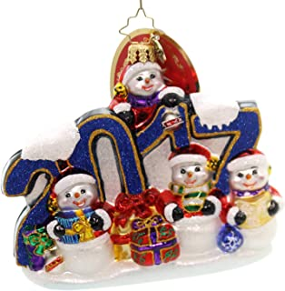 Christopher Radko This Year Was Big 2017 Dated Snowman Themed Glass Ornament
