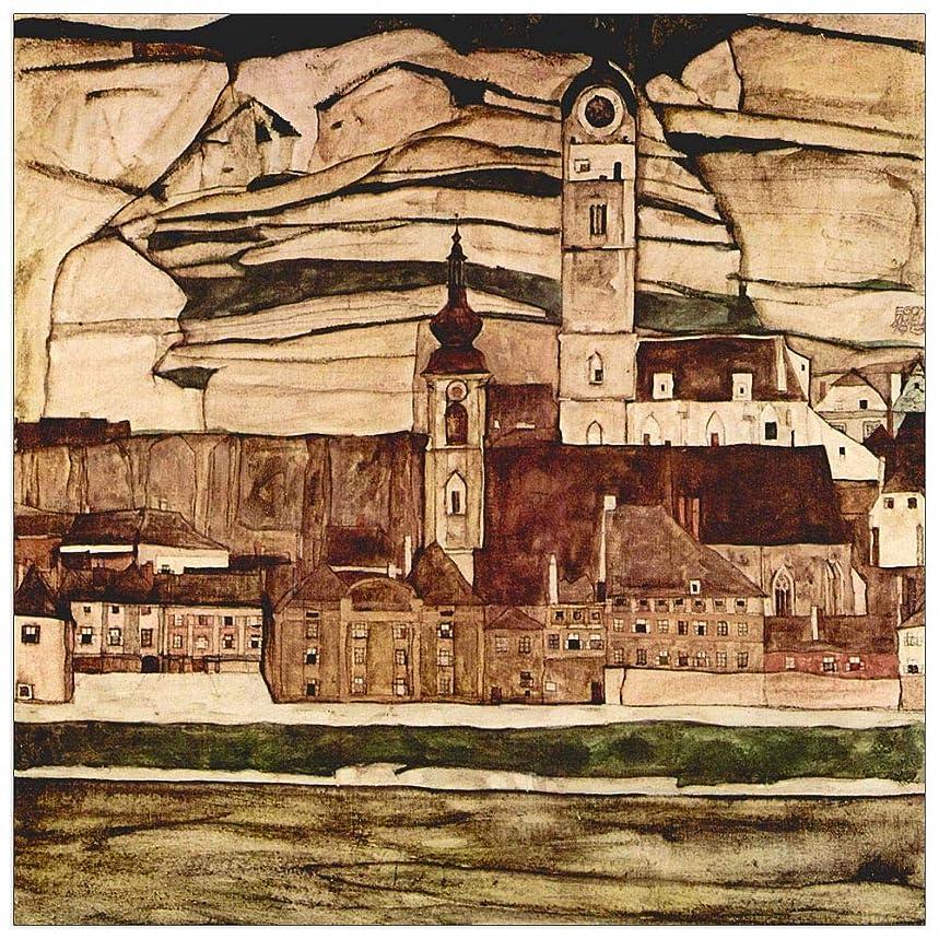 ArtPlaza TW91466 Schiele Egon - Stone on The Danube II Decorative Panel 31.5x31.5 Inch Multicolored