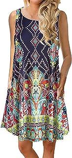 Viracy Women's Summer Sleeveless Floral Print T-Shirt Dress with Pockets