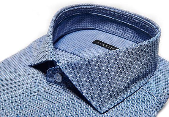 Angelico Camisa de Hombre Manga Larga - Cuello Francés - Slim Fit - 100% Algodón