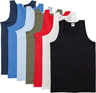 Keanu Mens Fitted 100% Cotton Vests Pack of 6 (2XL, Assorted Colours)