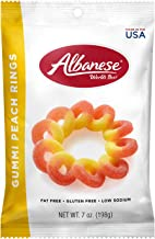 Albanese Candy Gummi Peach Rings 7 Ounce Bag (Pack of 12), Gummi Candy, Peach Flavored, Gluten Free, Dairy Free, Fat Free, Low Calorie