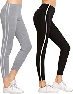 DTR FASHION Women's Gym wear Leggings Ankle Length Free Size Combo Workout Trousers | Stretchable Striped Jeggings | Yoga ...