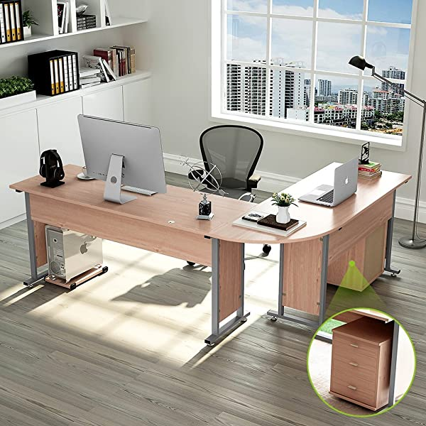 83 Inches Tribesigns Modern L Shaped Desk With Return And Mobile File Cabinet Corner Computer Desk Study Table Reversible Super Sturdy Workstation For Home Office Wood Metal With Drawers Salt Oak