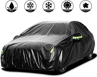 Adakiit Car Cover Waterproof Sedan Cover for All Weather UV Protection Windproof/Scratch Resistant, 210T Outdoor Universal Full Car Covers for Sedans up to 191''(191