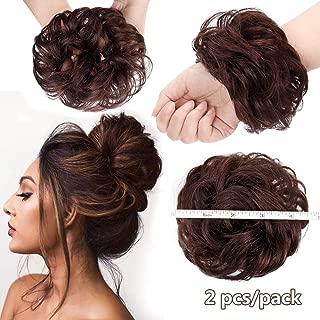 AISI BEAUTY 2PCS Messy Bun Hair Piece 100% Human Hair Scrunchies Buns Hair Pieces for Women Curly Wavy Black Bun Elegant Chignons Wedding(Reddish Brown)