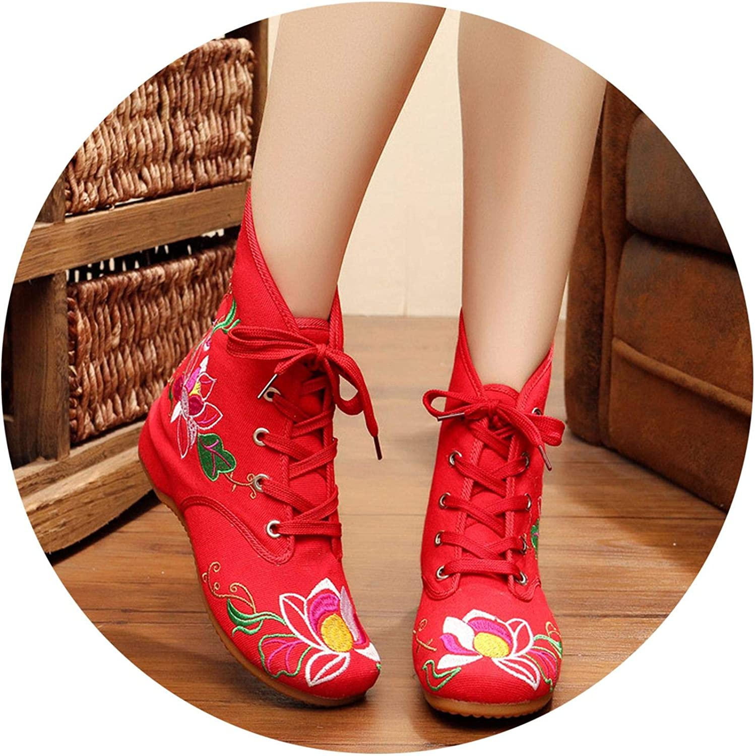 Superb Zone Spring Women shoes Embroidered Canvas shoes Increased Boots,Red,5