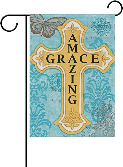 Afagahahs Amazing Grace Cross Home Decorative Outdoor Garden Flag Double Sided Butterfly Welcome Seasonal House Yard Flags Inch Garden Outdoor