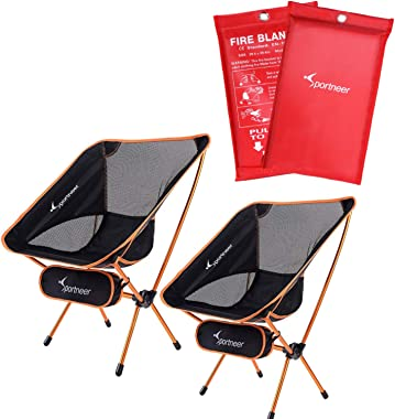 Sportneer 2 Pack Folding Camping Chair and 2 Pack Fire Blanket for Camping, BBQ, Picnic