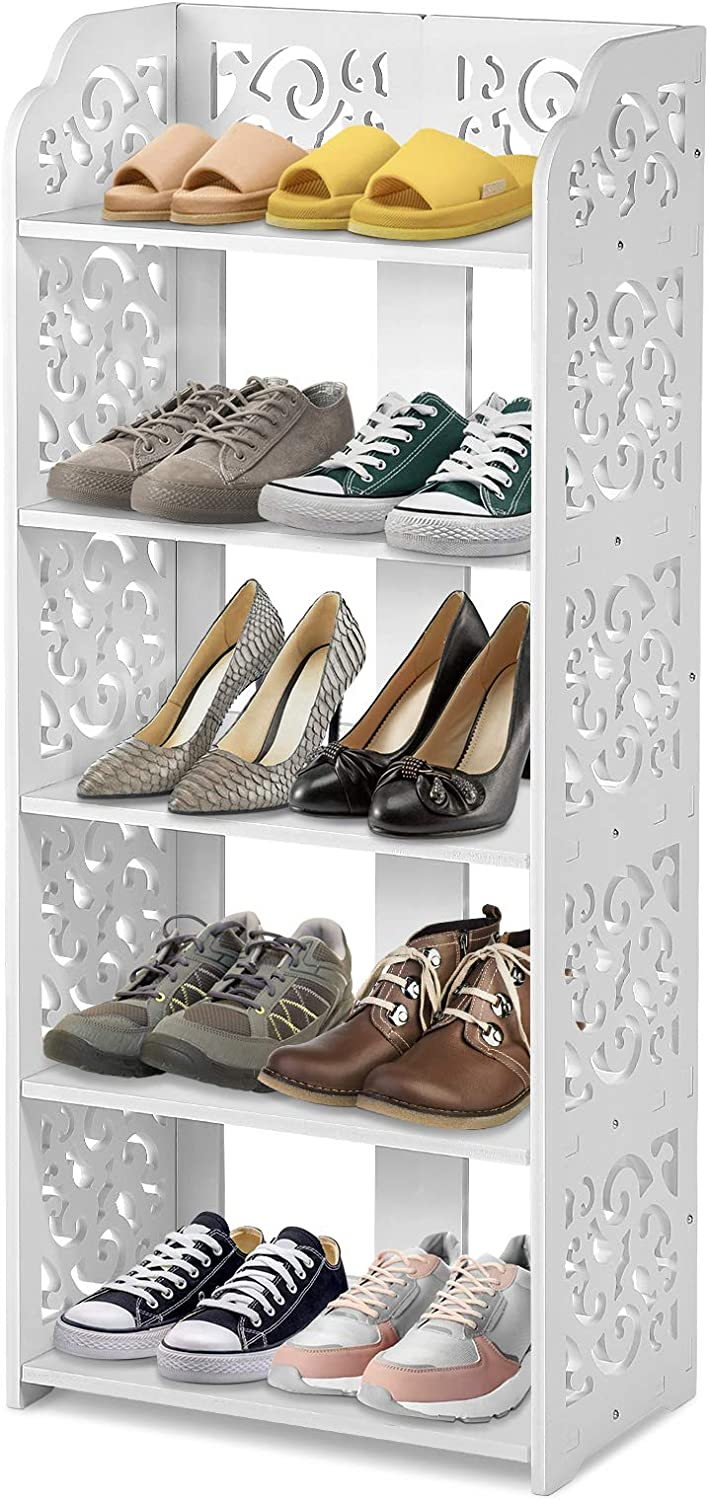 White 5 Tier Shoes Rack Wood Free Carved famous Plastic Max 65% OFF Shoe S Cabinet
