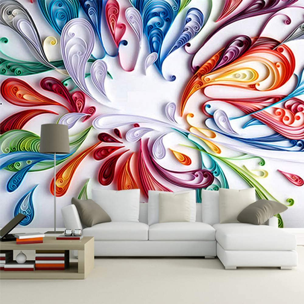 SKYROPNG Wall Mural Wallpaper 3D Floral Colorful Abstract Line P Topics Max 61% OFF on TV