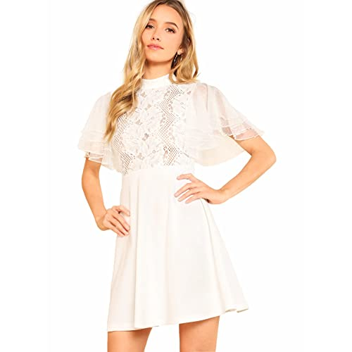 10a6bab9542 Romwe Women s Lace Floral Embroidered Ruffle Short Sleeve A line Dress