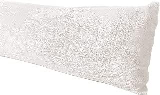 Truworth Bedding Extra Soft Body Pillow Cover, Sherpa/Microplush Material, 20x54 Inches, Zipper Closure (Cream)