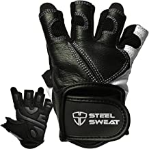 Steel Sweat Workout Gloves - Best for Weightlifting Gym Fitness Training and Crossfit - Made for Men and Women who Love Lifting Weights and Exercise - Leather SCARR