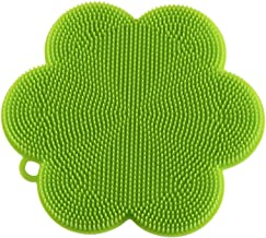 "Kuhn Rikon 23026 Stay Clean Flower Silicone Scrubber, 4.5"", Green"