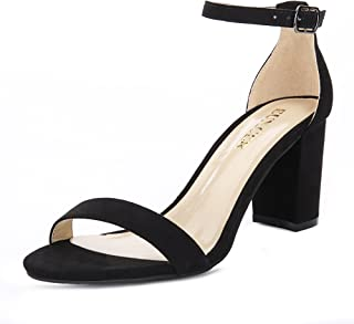 Eunicer Women's Single Band Classic Chunky Block High Heel Pump Sandals with Ankle Strap Dress Shoes (Half Size Large)