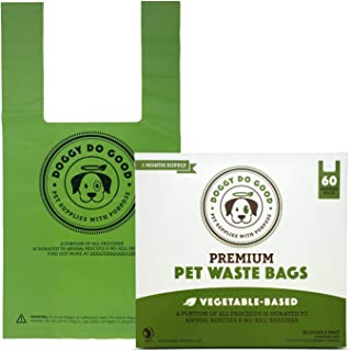 Biodegradable Poop Bags | Dog Waste Bags, Unscented with Easy-tie Handles, Vegetable-Based & Eco-Friendly, Premium Thickness & Leak Proof, Easy Open, Supports Rescues