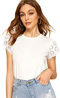 Women's Casual Eyelet Short Sleeve Solid T-Shirt Blouse Tops