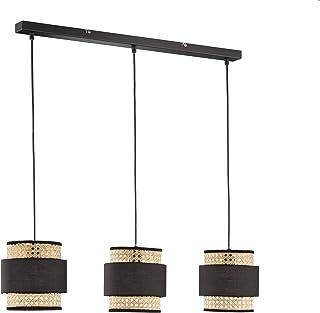 Fischer & Honsel Lámpara colgante (3 bombillas E27, máx. 40 W), color negro mate, pantalla de ratán de bambú, tela negra