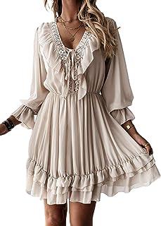 GOSOPIN Womens Square Neck Long Sleeve Mini Dress Lace Ruffle Shift Dresses