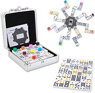 NOLIE Mexican Train Dominoes Game, Double 12 Dominoes Set, Dot Dominoes with Aluminum Case