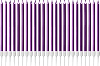 LUTER Metallic Birthday Candles in Holders Purple Tall Birthday Cake Candles Long Thin Cupcake Candles for Birthday Wedding Party Decoration(24 Pieces)