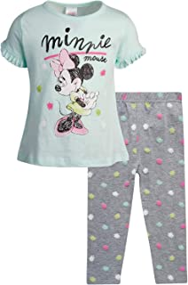Disney Girls Shirt & Legging Set: Minnie Mouse 2 Piece T-Shirt & Pant Set (Newborn/Infant/Toddler)