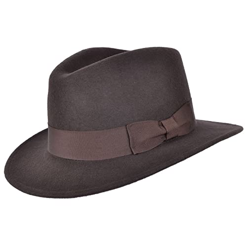 e73f987d828 High Quality Crushable Hand Made Gents Indiana 100% Wool Felt Fedora Trilby  Hat With Wide