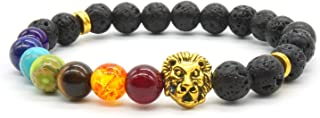 7 Chakras Healing Stone Ajustable Yoga Stretch Pulsera con Aureate Lion Head- Healing Oil Difusor Pulsera