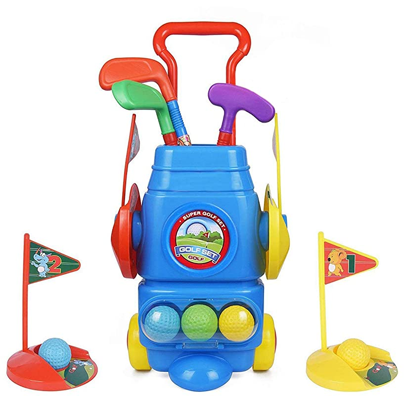 ToyVelt Kids Golf Club Set – Golf CartWith Wheels, 3 Colorful Golf Sticks, 3 Balls & 2 Practice Holes – Fun Young Golfer Sports Toy Kit for Boys &Girls – Promotes Physical & Mental Development