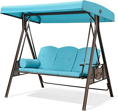 PURPLE LEAF 3-Seat Deluxe Outdoor Patio Porch Swing with Weather Resistant Steel Frame, Adjustable Tilt Canopy, Cushions and Pillow Included, Turquoise Blue