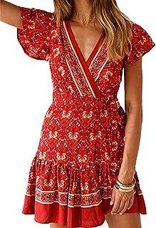 Women's Dresses Summer Bohemian Vintage Floral Printed Ruffle Hem V-Neck Mini Dress S-XXL