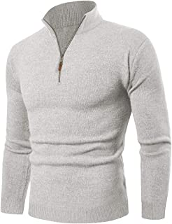 KEFITEVD Men's Casual Warm Turtleneck Sweater Winter 1/4 Zip Knitted Tactical Work Tops Long Sleeve Ribbed Pullover Sweaters