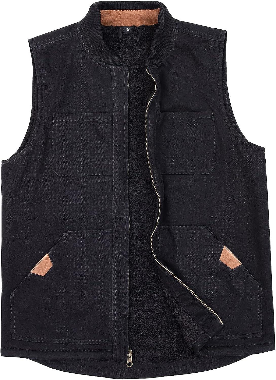 ThCreasa Mens Sherpa Fleece Lined Vest Sleeveless Zip Up Winter Outdoor Travel Fishing Vest Jacket