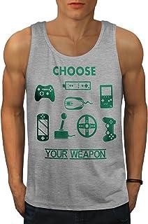 Wellcoda レトロ ゲーム 武器 おもしろいです 男性用 S-2XL タンクトップ