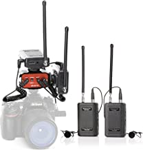 Wireless Lavalier Microphone System, Two Set of Saramonic SR-WM4C + 1 x SR-AX100 Audio Mixer Adapter for DSLR Cameras, Camcorder, Idea for Video Production, ENG,EFP, Film Making, Broadcast Interview