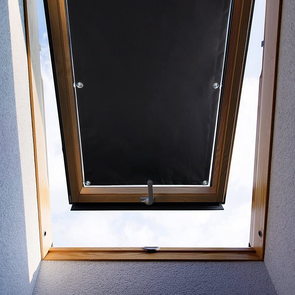 Auralum 48 93cm Blackout Roof Skylight Blind Window Curtain For Velux With Sucker Structure No Drilling Amazon Co Uk Home Kitchen