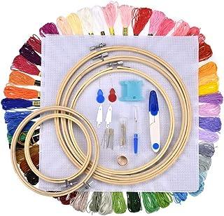 SHUIBIAN Sticken Starter Set Stickerei Kreuzstich Tool Kit Einschließlich 50 Farbe Themen 5 Bamboo Hoops und Nadeln Set Kreuzstich Tools für Erwachsene und Kinder Anfänger Home Decor