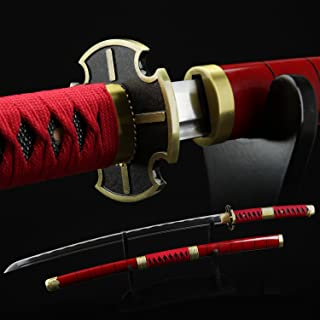 One Piece Roronoa Zoro Sandai Kitetsu 1045 Carbon Steel Katana Sword with Wooden Sheath Great for Cosplay/Collection