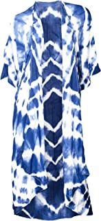 Flowing Tie-Dyed Kimono Blue and White One Size Fits Most Polyester Blend Shawl