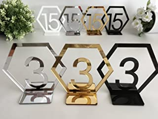 (25PCS, Silver) - RUIXUAN Acrylic Geometric Table Numbers,Wedding Hexagon Table Numbers, Boho Centrepiece Table Decor, Mir...