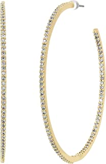 Kate Spade New York Women's Save The Date Large Hoop Earrings Clear/Gold One Size