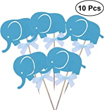 BESTOYARD 20pcs Cake Cupcake Toothpick Toppers Elephant Cake Decoration for Party Dessert(Blue)