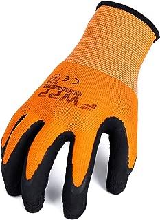FWPP GL008005L6 Nylon Latex Foam Coated Work Gloves Construction Gloves Pack of 6 Pairs Large Fluorescence Orange