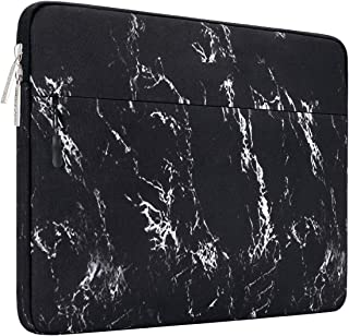 MOSISO Canvas Marble Pattern Laptop Sleeve Case Cover Bag 13 Inch Multi MO-13PM-Marble-Sleeve-Side-Pocket-BK