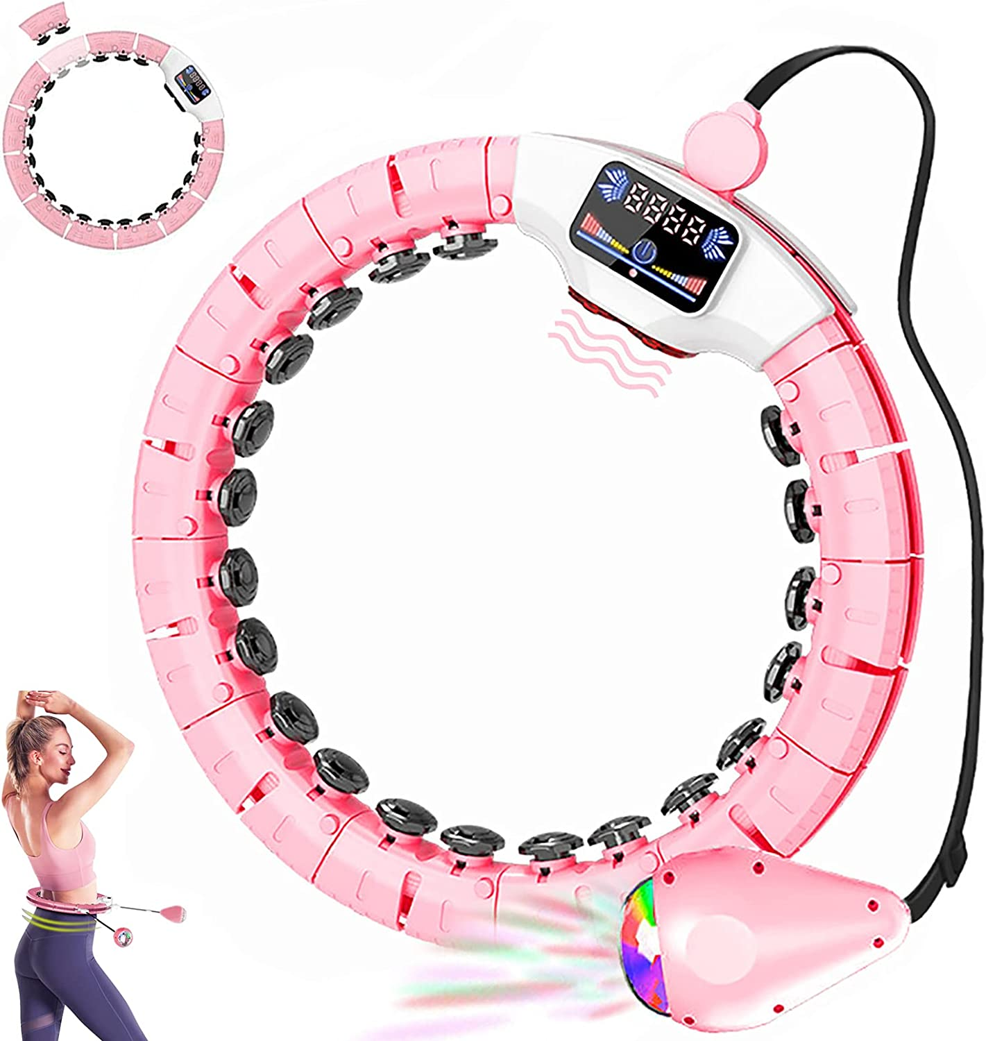 Smart weighted Hoop for Exercise, 40'' Max Adjustable Non Fall S