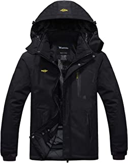 Wantdo Giacca da Sci Montagna Calda Invernale Parka da Neve Imbottita Cappotto da Snowboard in Pile Giubbotto con Cappucci...