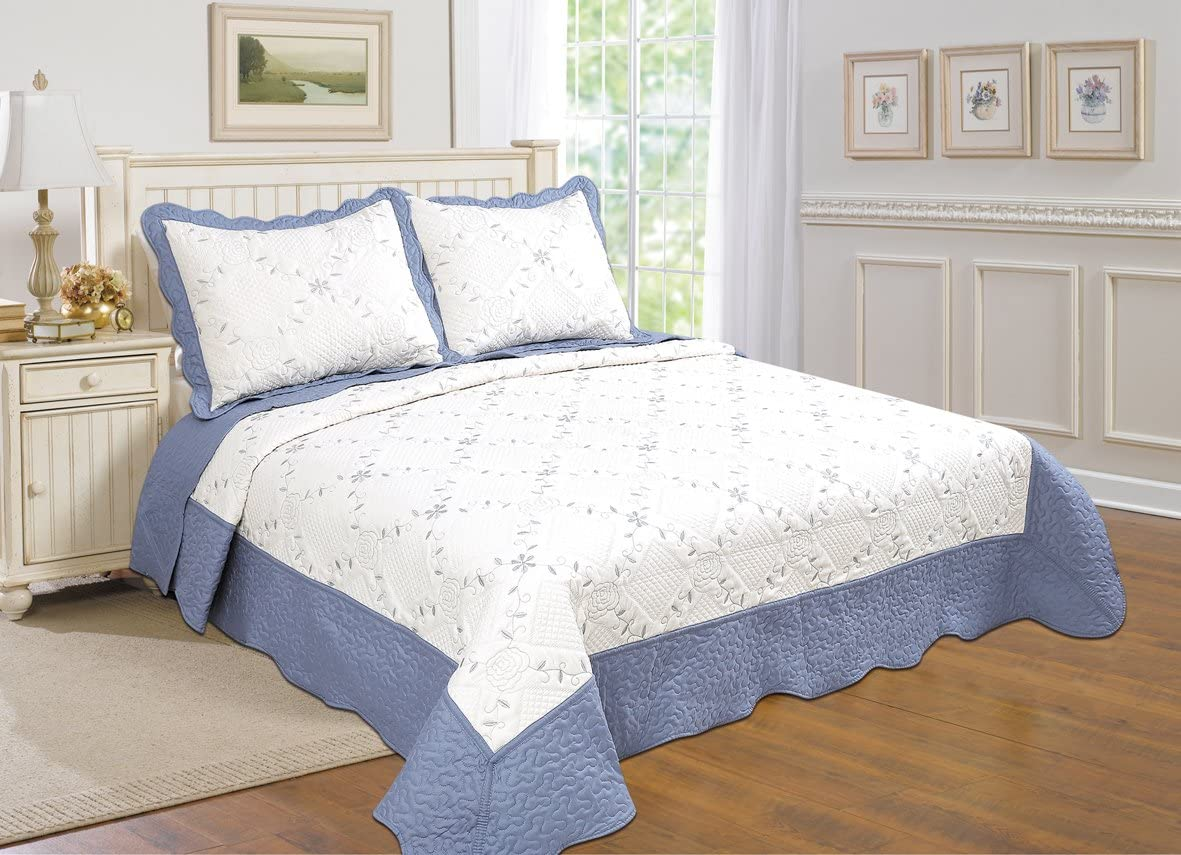 Direct sale of manufacturer United Curtain Co Dover supreme Quilt Blue Twin Set White