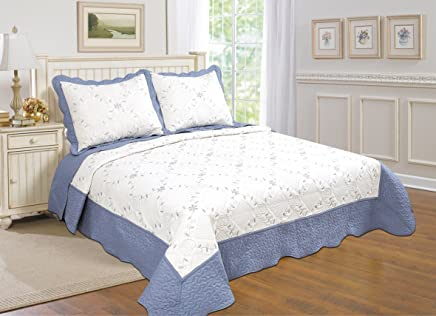featured product United Curtain Co. Dover Quilt Set King White/Blue